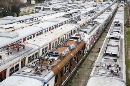 disused: Unused old trains on disused line at Haydarpasa train station in Istanbul