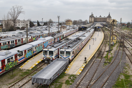 haydarpasa: Unused old graffiti trains on disused line are waiting for being used inside a complex of at Haydarpasa train station in Istanbul
