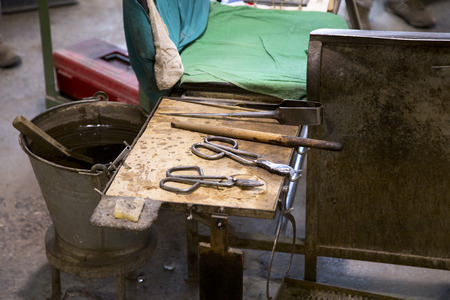 glasswork: Glasswork tools closeup view using for glass manufacturing process