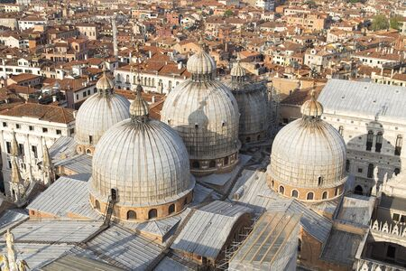 san marco: Venice aerial view of looking over Basilica di San Marco roof view in San Marco square