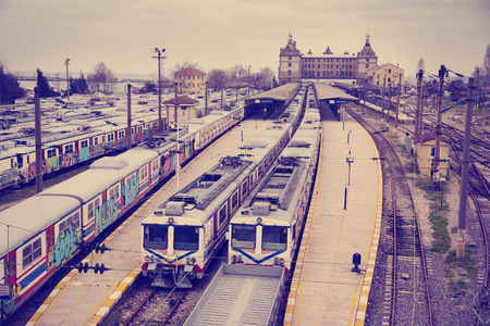 disused: Vintage view of Hardarpasa train station with unused old graffiti trains on disused line in Istanbul Editorial