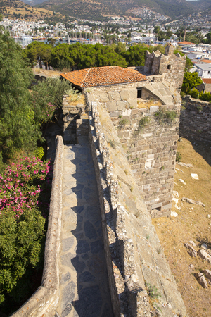 ramparts: Tower and ramparts of Bodrum Castle located in southwest Turkey