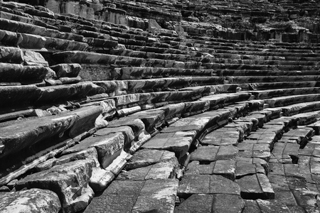 Miletus theatre stairs and seats black and white view in Turkey