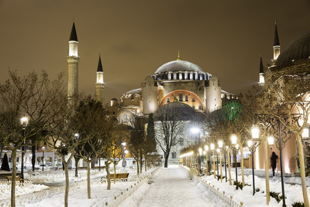 View of Hagia Sophia, Aya Sofya, museum in a snowy winter night in Istanbul Turkey Editorial