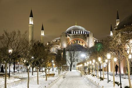 hagia sophia: View of Hagia Sophia, Aya Sofya, museum in a snowy winter night in Istanbul Turkey Editorial