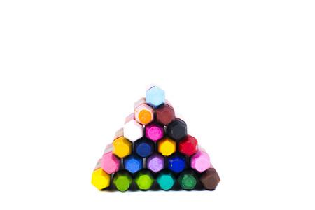 multicolored: Multicolored crayons pyramid Stock Photo