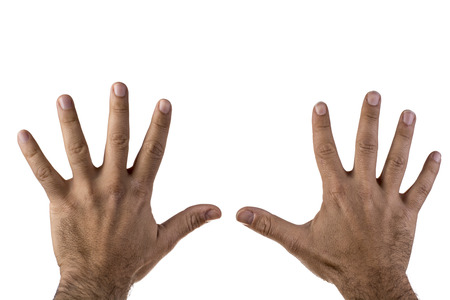 Men hands on isolated white background