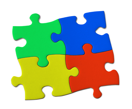 interlocked: Multicolor Jigsaw puzzle Stock Photo