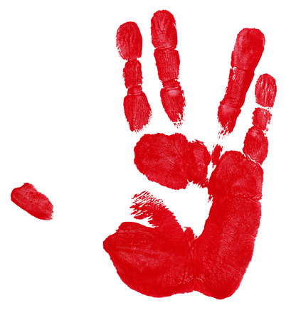 red hand: Red Hand Track. Alien Greeting.Isolated on White Background. Stock Photo