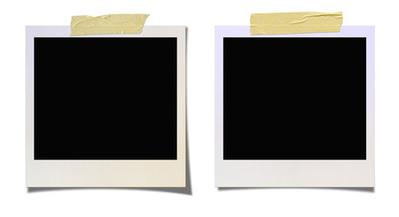 taped: Taped Blank Photo Border. Isolated on white background