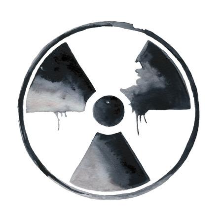 nuke plant: Nuclear radiation symbol painted Stock Photo