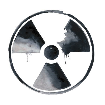 nuke plant: S�mbolo de la radiaci�n nuclear pintado