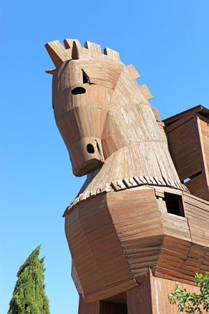 virgil: Trojan Horse in Troy, Turkey with clear blue skies Stock Photo