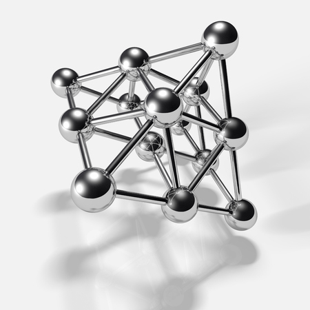 covalent: 3D chrome spheres,connected to each other. The symbol of connection. A molecule or a net.