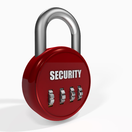 combination: Red security Combination Padlock on a white background. Stock Photo