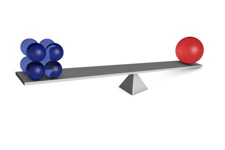 balance ball: A blue and red ball at a balance