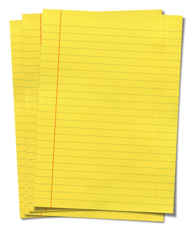 memorise: XXXL size yellow lined paper isolated on white background