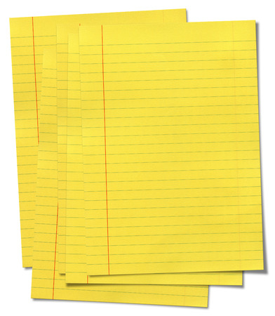 in lined: XXXL size yellow lined paper isolated on white background