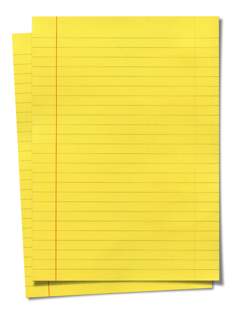 xxxl: XXXL size yellow lined paper isolated on white background