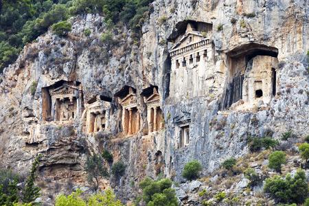 tumbas: Tumbas de Lycian de Caunos, Dalyan, Mugla, Turqu�a
