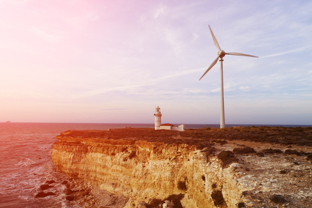 generator: Wind Generator, Bozcaada, TURKEY Stock Photo