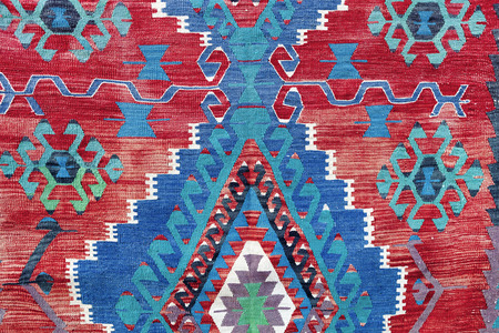 hand woven: Hand woven kilim pattern, close up view Stock Photo