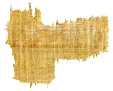 papyrus: Torn Yellow Brown Papyrus Paper Isolated on White Background.
