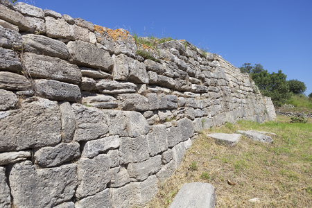 troy: Ancient walls of legendary Troy city, Turkey