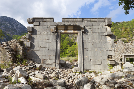 Roman temple: entrance to an ancient roman temple at the town of Olympos (Cirali) in southern Anatolia, Turkey