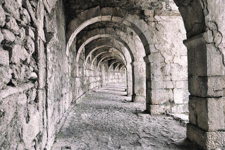 archaeology: Galery at Aspendos in Antalya, Turkey - archaeology background Stock Photo