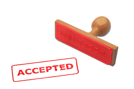 acceptation: Wooden used office stamp with sign Accepted Stock Photo
