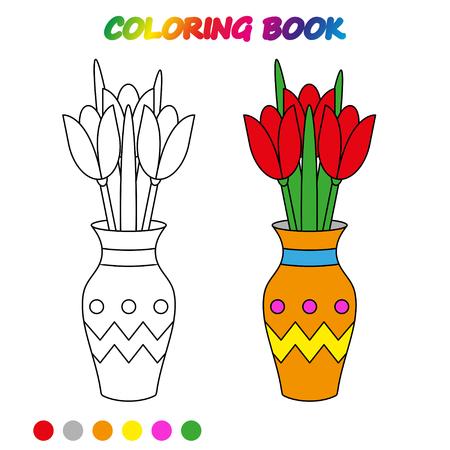 Arbeitsblatt. BLUMEN TULPE in Vase - Malbuch. Spiel für Kinder