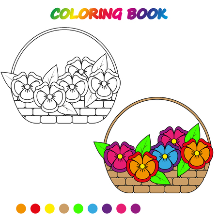 A BASKET OF FLOWERS - coloring page. Worksheet. Game for kids - coloring book.