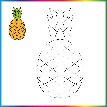 pineapple connect the dots and coloring page. Worksheet - game for kids. Restore dashed line.