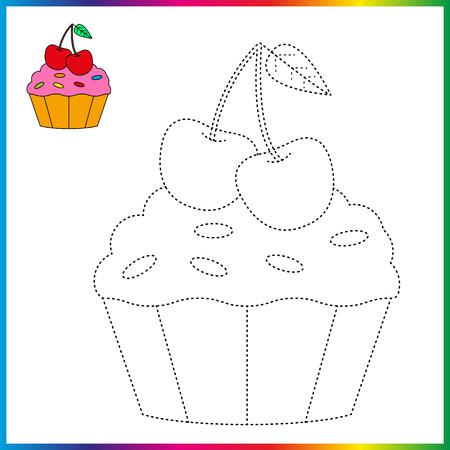 cupcake relient les points et la page de coloriage. Feuille de travail - jeu pour les enfants. Restaurez la ligne pointillée.