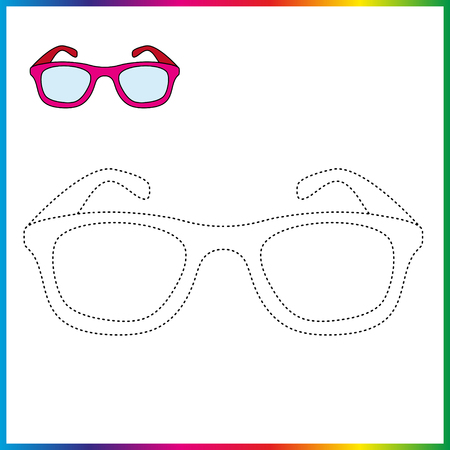spectacles connect the dots and coloring page. Worksheet - game for kids. Restore dashed line.  イラスト・ベクター素材
