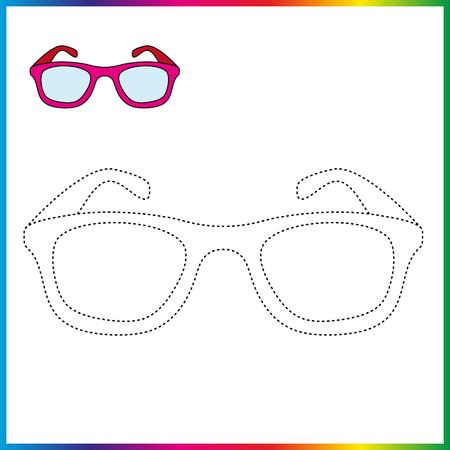 les lunettes relient les points et le coloriage. Feuille de travail - jeu pour les enfants. Restaurez la ligne pointillée.