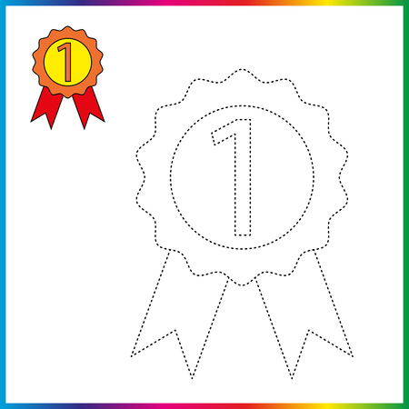 medal connect the dots and coloring page. Worksheet - game for kids. Restore dashed line.