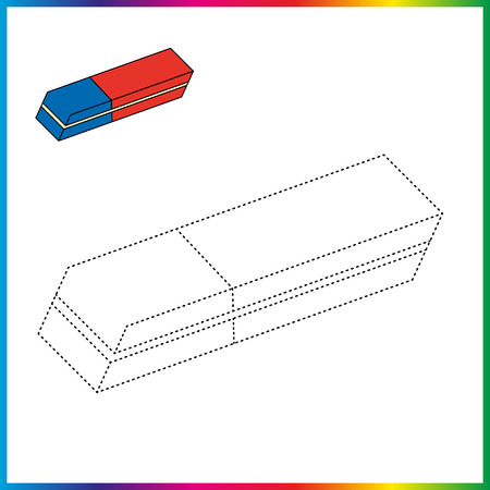 eraser connect the dots and coloring page. Worksheet - game for kids. Restore dashed line.