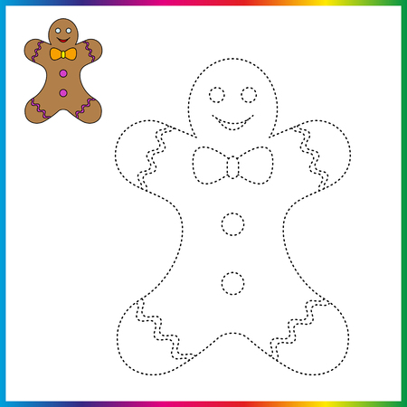 gingerbread cookie connect the dots and coloring page. Worksheet - game for kids. Restore dashed line.  イラスト・ベクター素材