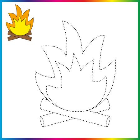 feu de camp relient les points et la page de coloriage. Feuille de travail - jeu pour les enfants. Restaurez la ligne pointillée.
