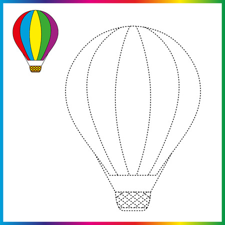 hot air balloon connect the dots and coloring page. Worksheet - game for kids. Restore dashed line. Иллюстрация