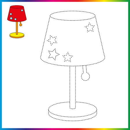 table lamp connect the dots and coloring page. Worksheet - game for kids. Restore dashed line.