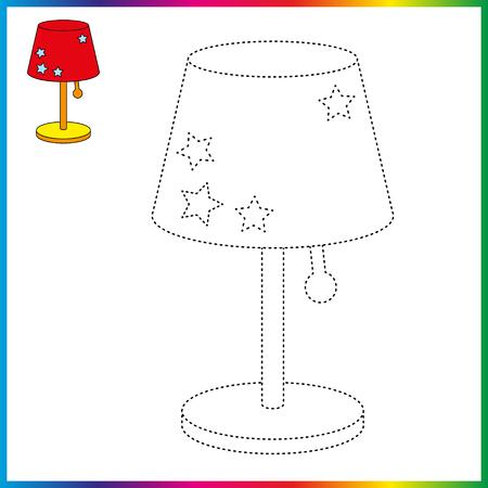 lámpara de mesa conecta los puntos y la página para colorear. Hoja de trabajo - juego para niños. Restaurar la línea discontinua. Ilustración de vector