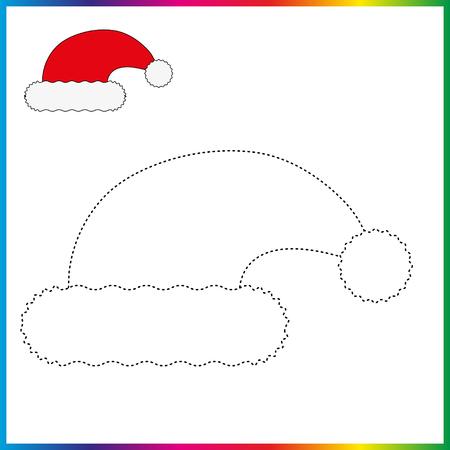 Bonnet de Noel reliez les points et la page de coloriage. Feuille de travail - jeu pour les enfants. Restaurez la ligne pointillée.