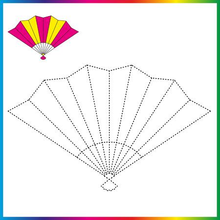 ventilateur à main reliez les points et la page à colorier Feuille de travail - jeu pour les enfants. Restaurez la ligne pointillée.