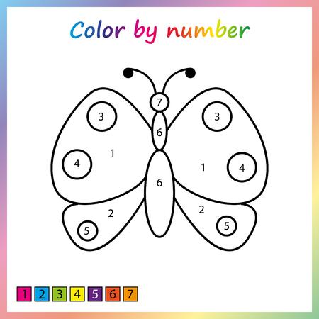 Gemäldeseite, Farbe nach Zahlen. Arbeitsblatt für Bildung. Spiel für Kinder im Vorschulalter.