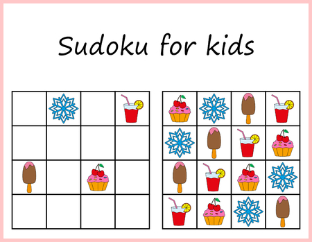 Sudoku for kids. Game for preschool kids, training logic. Worksheet for children.