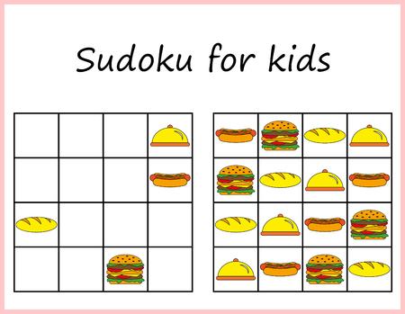 Sudoku for kids. Game for preschool kids, training logic. Worksheet for children. Vetores