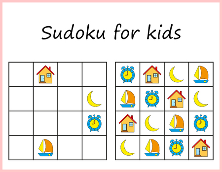 Sudoku for kids. Game for preschool kids, training logic. Worksheet for children.